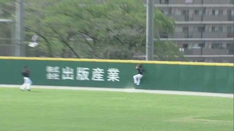 【ファーム】マリーンズ・菅野 フェンスにぶつかりながらもジャンピングキャッチ!! 2021/5/25 L-M(ファーム)