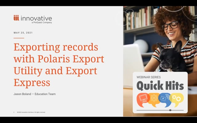 Webinar: Exporting Records with Polaris Export Utility and Export Express