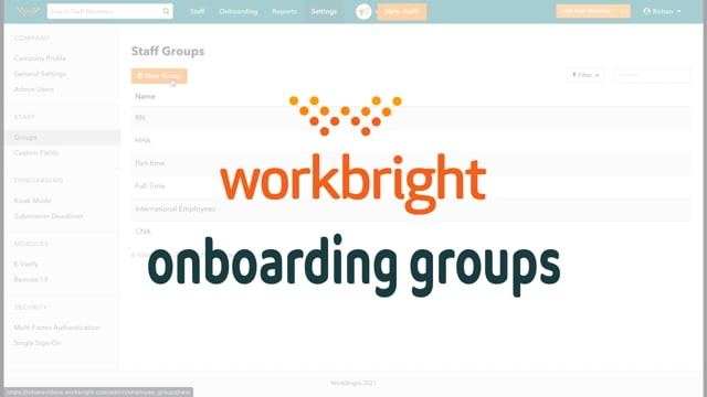 Onboarding Using Groups