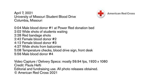Biomed B-roll - University of Missouri Student Blood Drive, Columbia, Missouri