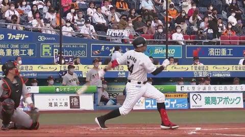 【1回裏】マリーンズ・レアードが直球を捉えてレフト前へ先制タイムリーヒットを放つ!! 2021/6/11 M-G
