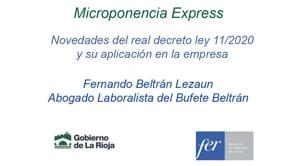 Microponencia Express - Novedades del real decreto ley 11/2020 y su aplicación en la empresa