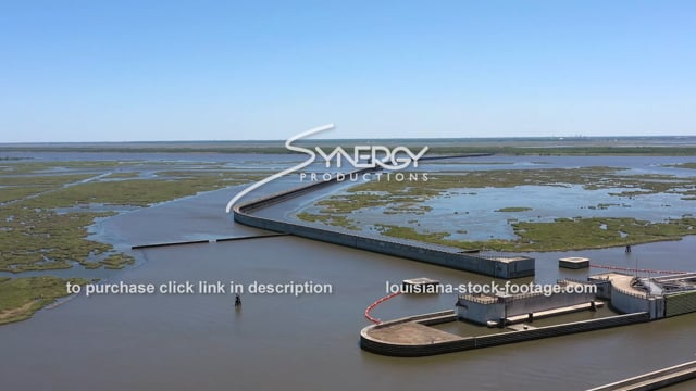 2830 dramatic aerial Lake Borgne Storm Surge Barrier for New Orleans