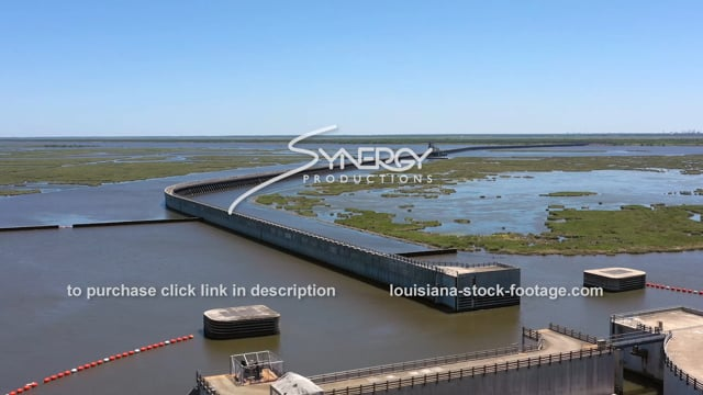 2822 Epic aerial New Orleans flood storm protection system MRGO canal