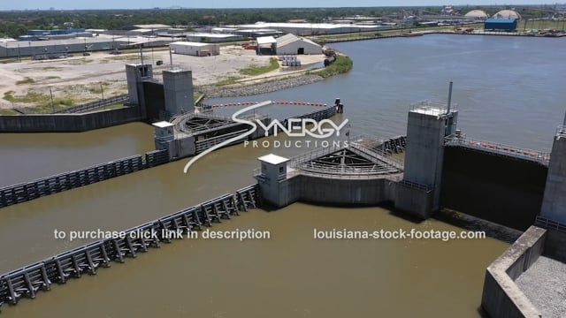 2812 dramatic aerial Seabrook Floodgate Complex industrial canal