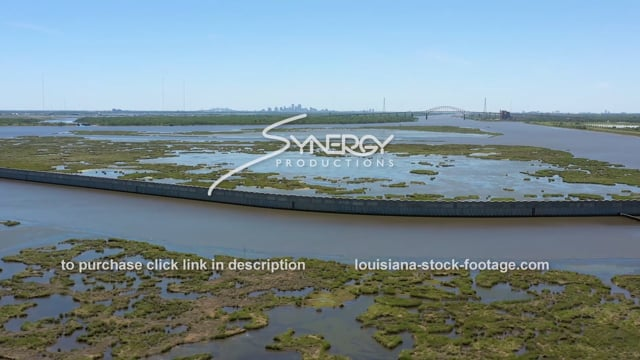 2823 Epic aerial New Orleans flood protection system coastal land loss