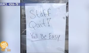 The entire staff quit by leaving a note on the front door!
