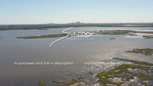 2857 cinematic aerial New Orleans land loss sea level rise