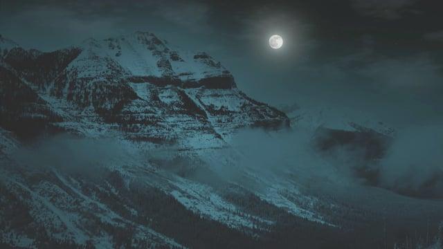 Winter Night at Stanley Glacier Trail, Canada