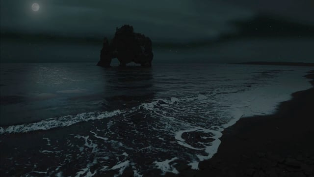 The Night Beauty of Icelandic Coastline. Nighttime video. Part 3 - 4k HDR Nature Relax Video