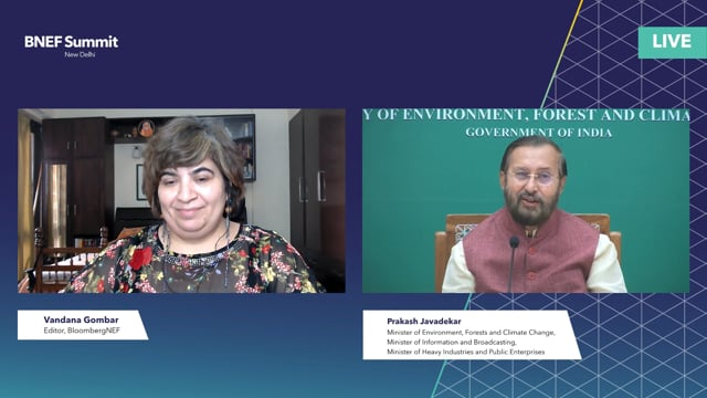 """Watch """"<h3>Prakash Javadekar, Minister of Environment, Forests and Climate Change, Minister of Information and Broadcasting, Minister of Heavy Industries and Public Enterprises and John Murton, COP26 Envoy, UK Government interviewed by Vandana Gombar, Editor, BloombergNEF</h3>"""""""