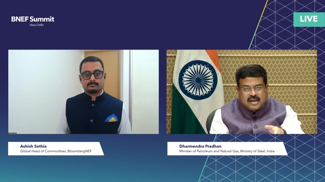 """Watch """"<h3>Dharmendra Pradhan, Minister of Petroleum and Natural Gas, Minister of Steel, India interviewed by Ashish Sethia, Global Head of Commodities, BloombergNEF</h3>"""""""