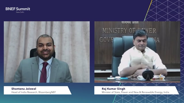 """Watch """"<h3>Raj Kumar Singh, Minister of State, Power and New & Renewable Energy, India interviewed by Shantanu Jaiswal, Head of India Research, BloombergNEF</h3>"""""""