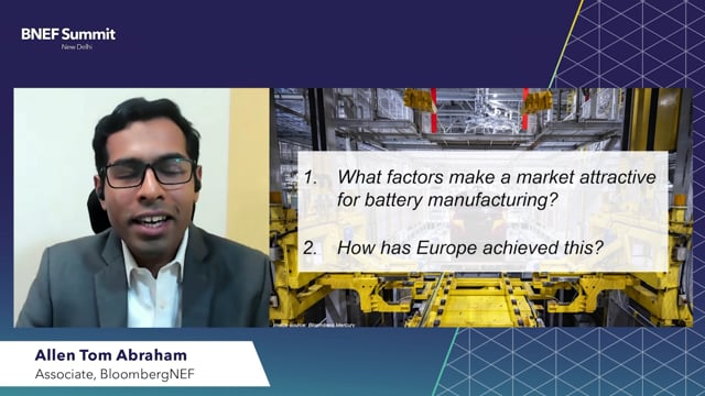 """Watch """"<h3>BNEF Talk: India's Opportunity in Battery Manufacturing by Allen Tom Abraham, Associate, BloombergNEF</h3>"""""""