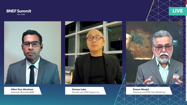 """Watch """"<h3>Horace Luke, Founder and CEO, Gogoro Inc and Pawan Munjal, Chairman and CEO, Hero MotoCorp interviewed by Allen Tom Abraham, Associate, BloombergNEF</h3>"""""""