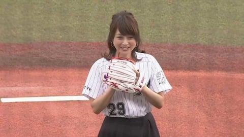 今年でソロデビュー35周年を迎えたタレントの渡辺美奈代さんが始球式!! 2021/7/7 M-H
