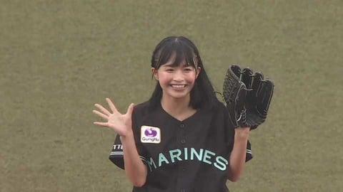 投球も全力で!! 全力少女Rのリーダー・百川晴香さんがファーストピッチ!! 2021/7/9 M-F