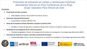 Protocolos de actuación en campo y central para minimizar desórdenes internos en Pera Conferencia de La Rioja Grupo Operativo Pera Rincón de Soto