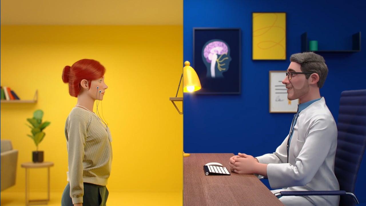 Stillbild aus Animationsvideo mit Synkinesie Patientin und Arzt