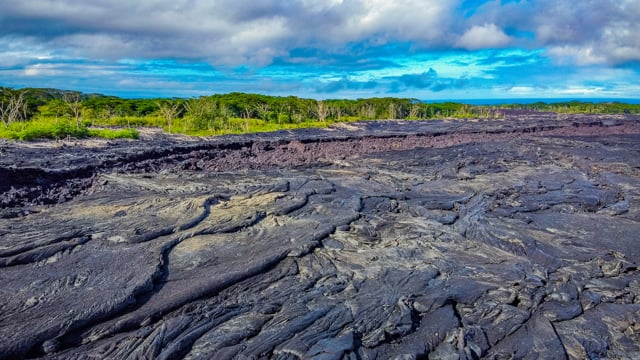 Amazing Lava Fields of Big Island from the Height of Bird's Flight