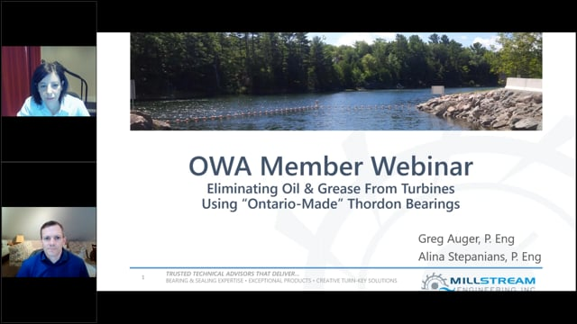 "Millstream Engineering Presents: Eliminating Oil & Grease From Turbines, Using ""Ontario-Made"" Thordon Bearings"
