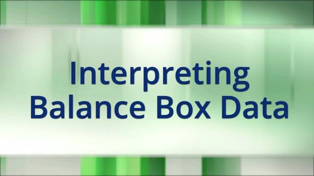 Interpreting Balance Box Data
