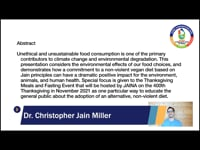 Dr. Christopher Miller : Jain Veganism - A More Sustainable and Ethical Diet
