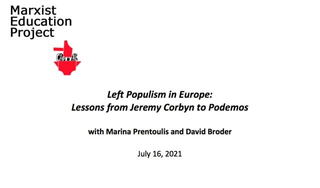 Left Populism in Europe - July 16 2021