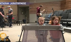 During worship, Laura Story has her kids in a cage, on stage!