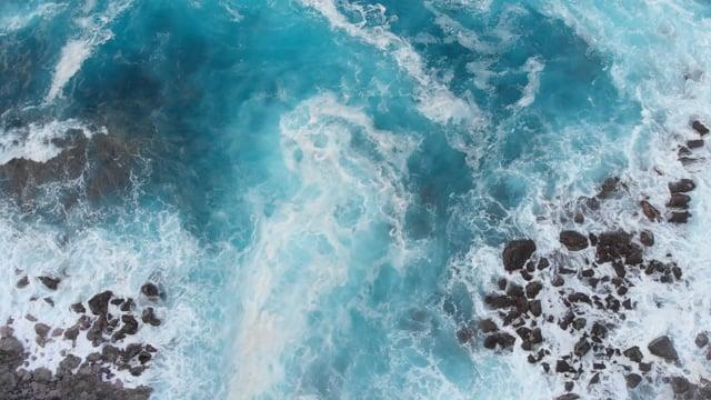 Bird's Eye View of Blue Ocean Waves - Aerial Relax Video in 4K