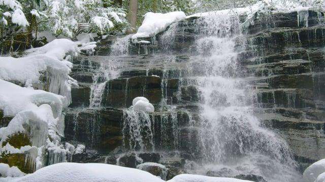 Canadian Waterfalls in Winter. Moses Falls, Moses Creek Community Park