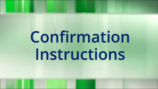 Confirmation Instructions