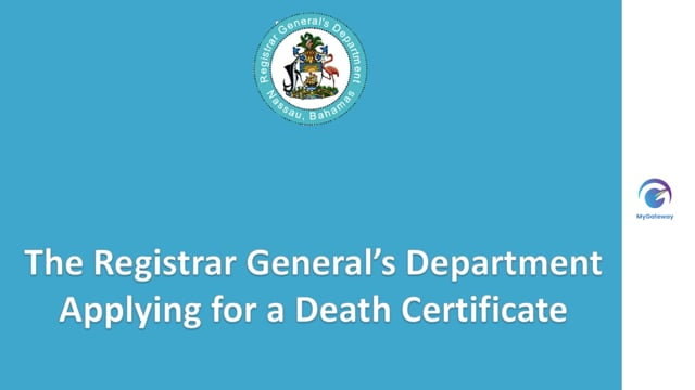 Appyling for Death Certificate