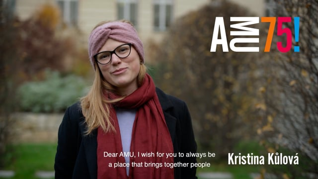 Watch the video wishing from Kristina Kůlová, a student of FAMU's Department of Cinematography. She made herself known at the Jihlava IDFF last year with her short film A to světlo mění tvar in the FAMU student film section.