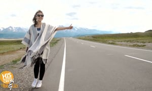 Bride hitchhikes to her own wedding!