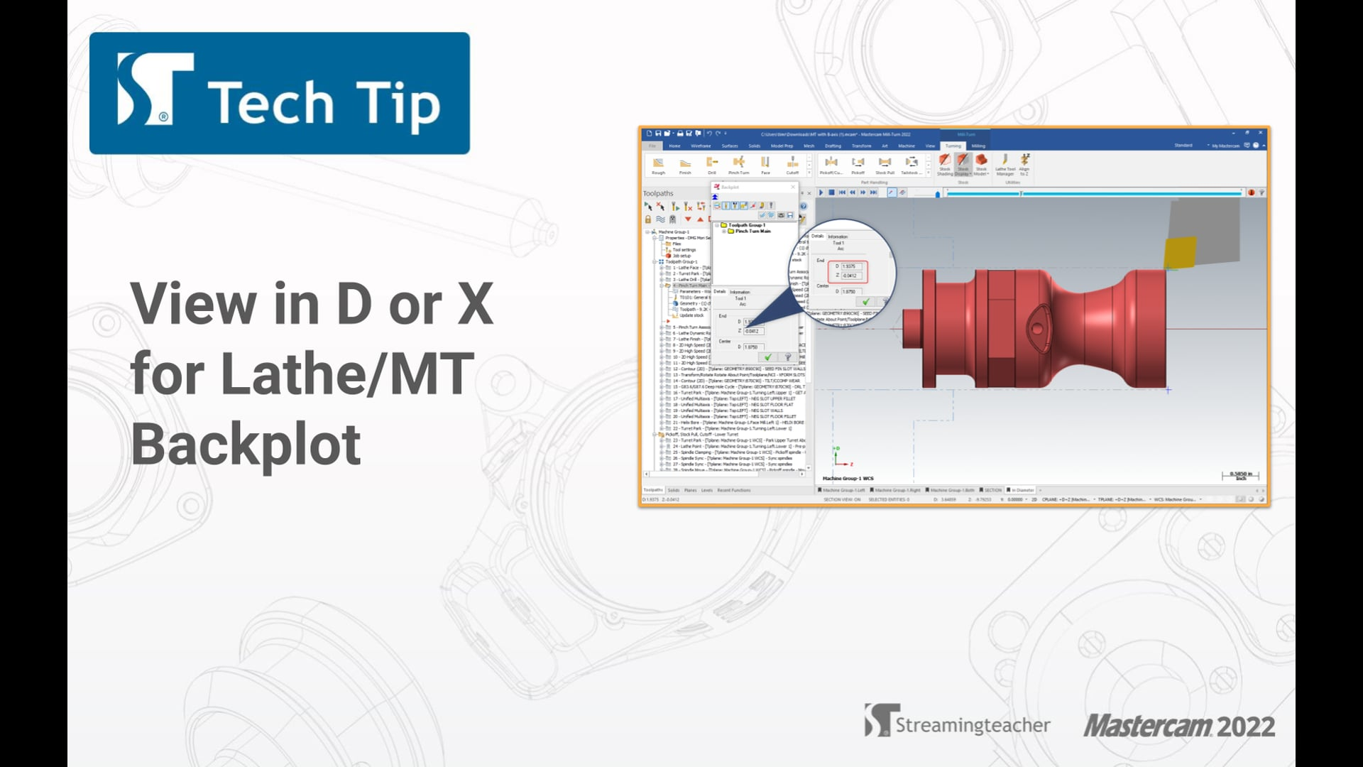 View in D or X for Lathe or MT Backplot