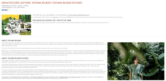Architecture Lecture: Tatiana Bilbao   Tatiana Bilbao ESTUDIO