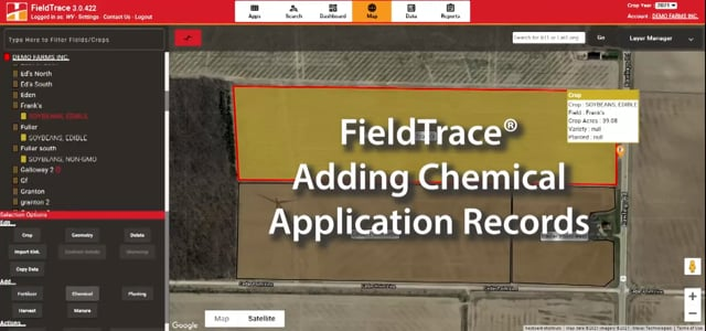 FieldTrace® - Adding Chemical Application Records