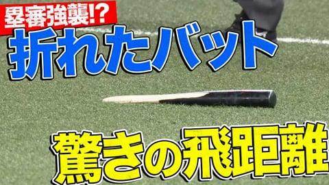 【塁審強襲!?】ホークス・リチャード『折れたバットがメチャクチャ飛ぶ』