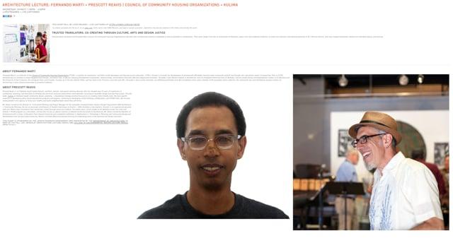 Architecture Lecture: Fernando Marti + Prescott Reavis | Council of Community Housing Organizations + Kulima