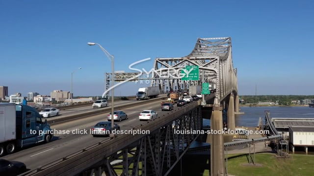 2983 awesome drone aerial bridge coming into Baton Rouge