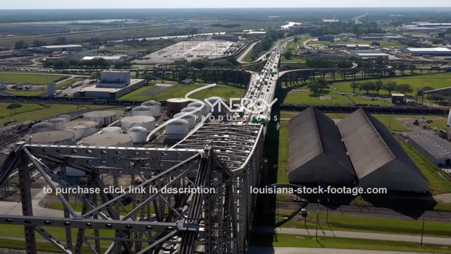 2993 Epic traffic backing up Baton Rouge Louisiana drone aerial view