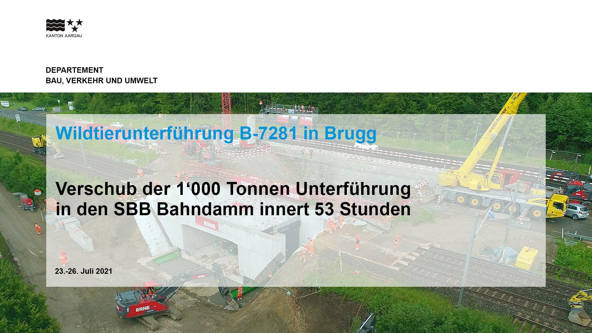 BauDoku WTU - Wildtierunterführung B-7281 in Brugg