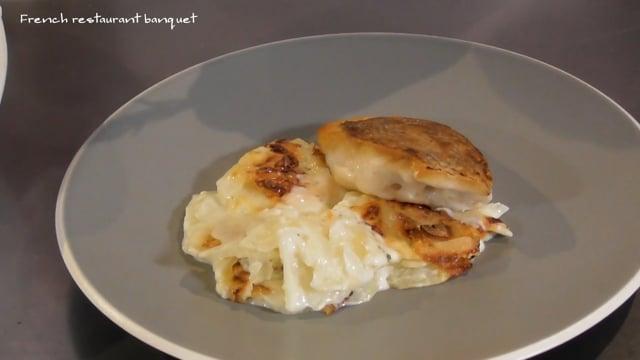 鮮魚のポワレ&ローズマリー風味のグラタン
