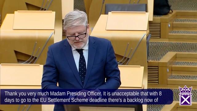 Question on the EU Settled Status scheme