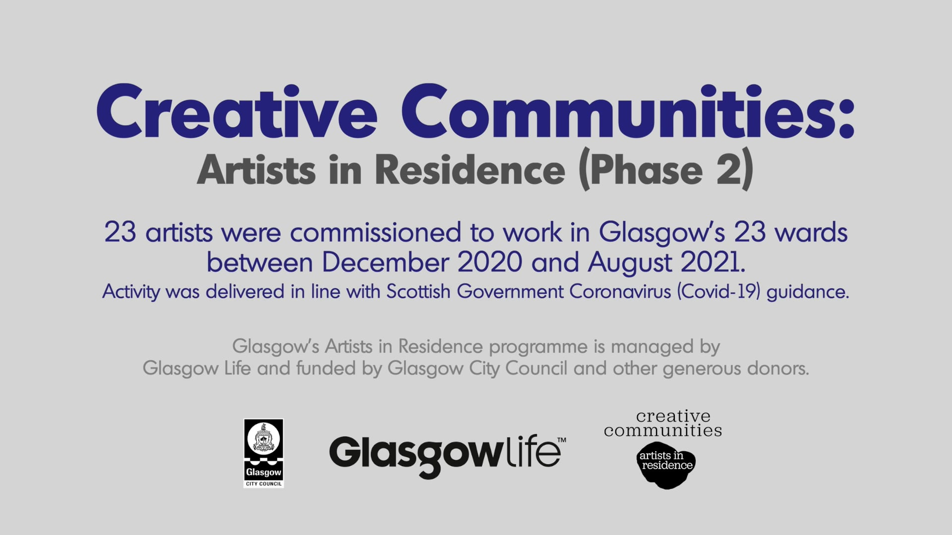 Creative Communities - Artists in Residence (Phase 2)