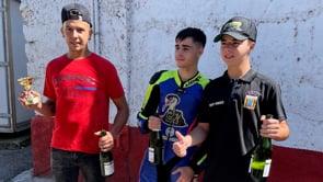 Els tres pilots de motos, al podi del Pla de Sant Tirs