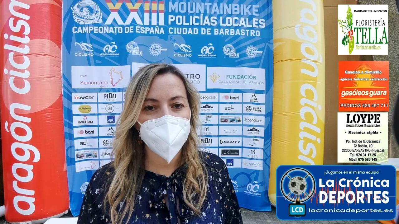PILAR ABAD (Concejal Deportes Ayuntamiento Barbastro)  23 EDICIÓN DE MOUNTAINBIKE PARA POLICIAS LOCALES.  Campeonato de España Ciudad de Barbastro / 25.09.2021