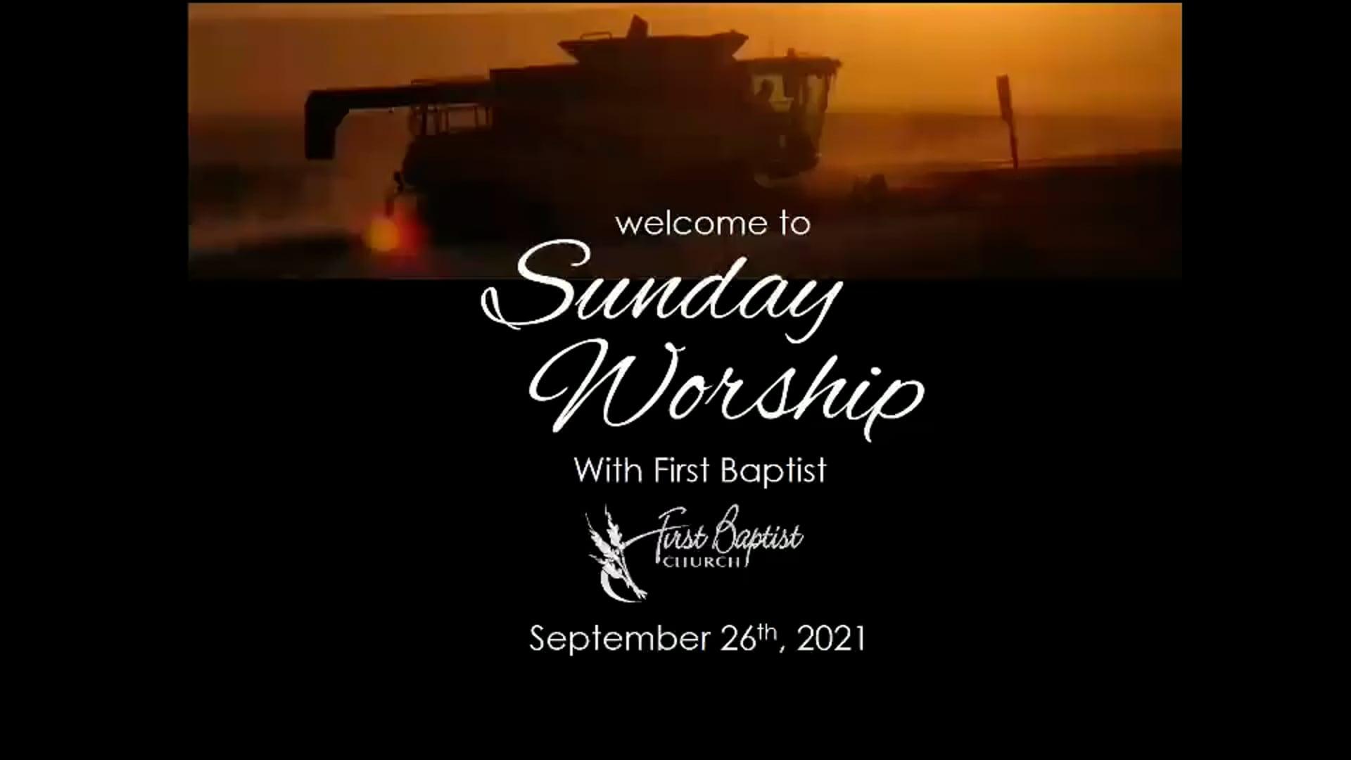 September 26, 2020 Worship Service