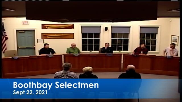 Boothbay Selectmen Sep 22, 2021